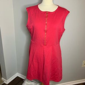 New York & Company Hot Pink Half Zip A-Line Dress